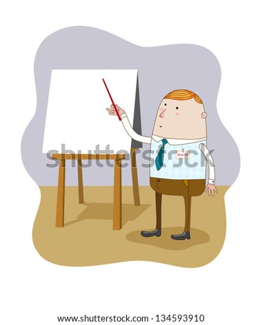 The Businessman standing pointing at blank flip chart. Vector. - stock vector