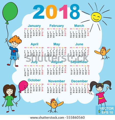 Childrens Calendar Cheerful New Year 2017 Stock Vector 546591961 ...