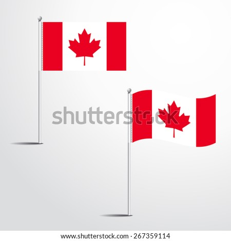 The Canada flag normal and waving flag set | abstract flag vector eps 10  - stock vector