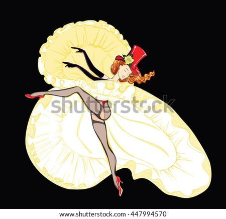 The Cancan Dancer in a Fluffy Skirt. Vector Illustration - stock vector