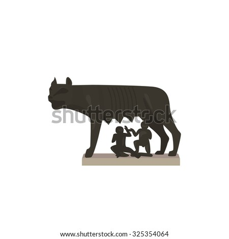 The Capitoline wolf in Rome. Colorful vector icon in flat style. Architectural and tourist landmarks. - stock vector