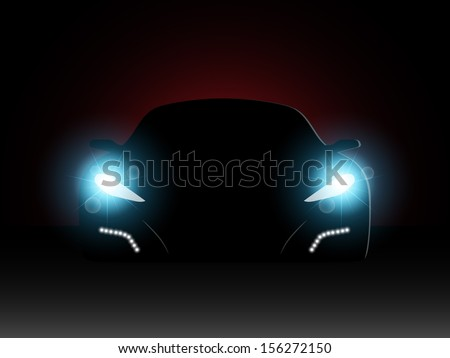 The car in the dark with the included headlights. Vector illustration.  - stock vector