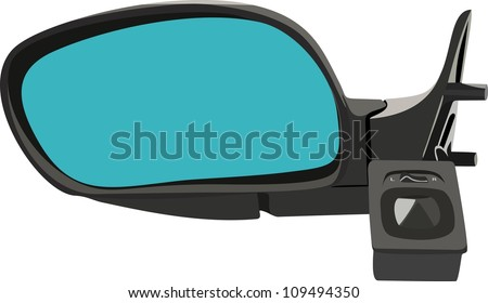 The car mirror isolated on white - stock vector