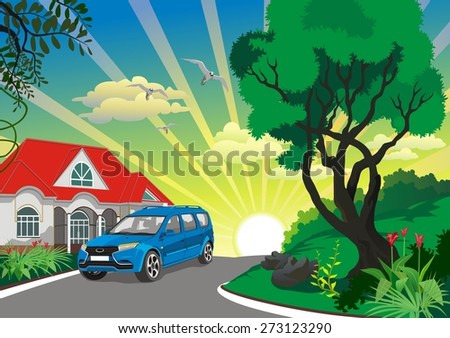the car near a country house - stock vector