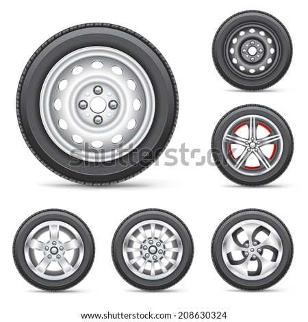 The car wheels set collection on the white background - stock vector