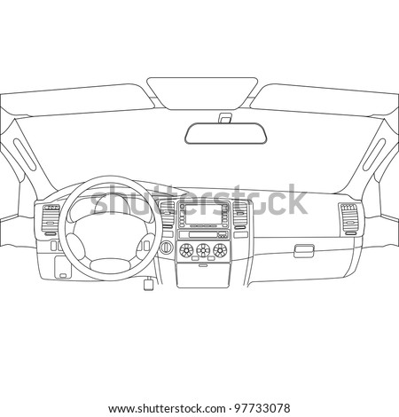 The car without a driver on the road. Rasterized version also available in portfolio. - stock vector