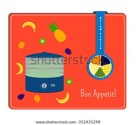 The card with the image of the dryers for fruits and the fruits Label with a plate with dried fruits. - stock vector