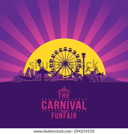 The carnival funfair and amusement with sunset/sunbeams background. vector illustration - stock vector