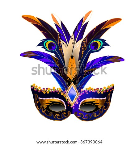 The carnival mask with multicolor feathers. The mask decorated with golden pattern and sequins. - stock vector
