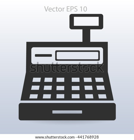 the cash register with a digital display vector illustration