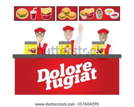the cashiers behind the counter waiting for customers fast food - stock vector