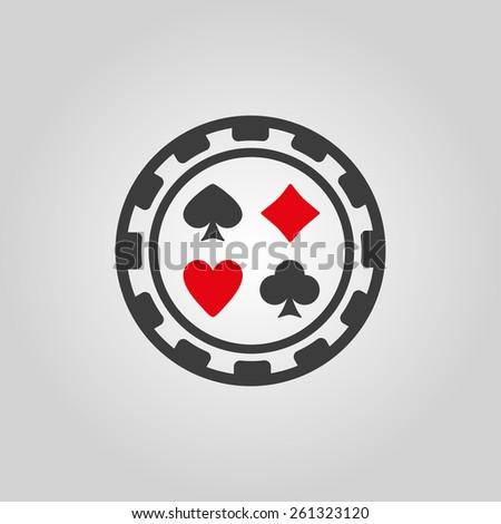 The casino chip icon. Casino Chip symbol. Flat Vector illustration - stock vector
