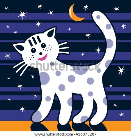 The cat is walking in the night. The Moon and stars are on the sky. Picture for children