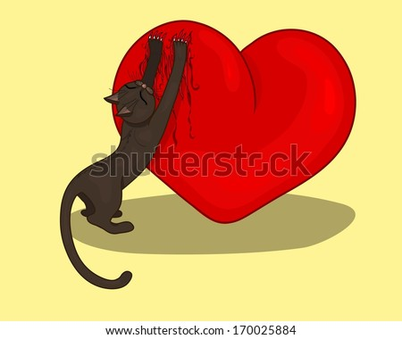 The cat scratches heart - stock vector