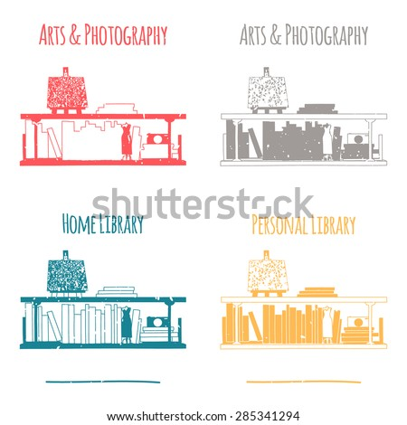 """The category of """"Arts & Photography"""". Silhouette of one line. The image is well suited for stencil or stamp in scrapbooking. - stock vector"""