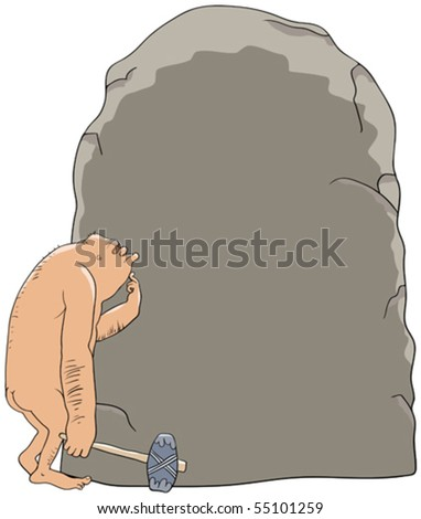 The cave person and stone - stock vector