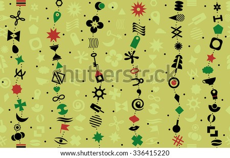 The chain of geometric elements on a colorful background. Seamless background from a set of characters. - stock vector