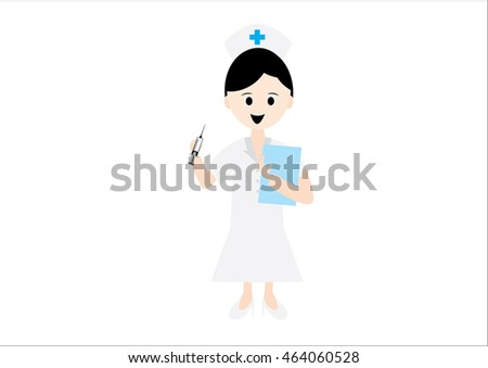 The character designs are cute nurse holding a syringe and medical paper - vector illustration