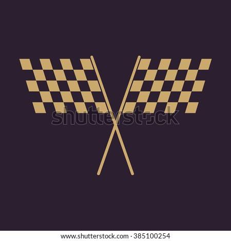 The checkered flag icon. Finish and start, winner symbol. Flat Vector illustration - stock vector