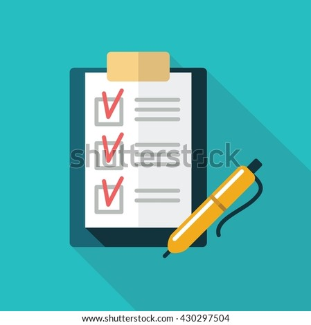 The checklist in a folder with clip and pen - stock vector