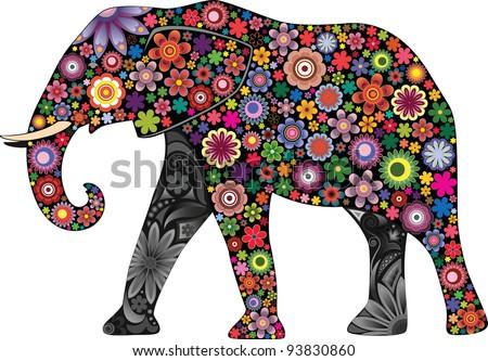 The cheerful elephant I - stock vector