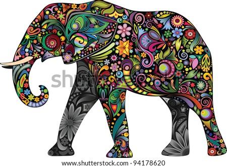 The cheerful elephant II - stock vector