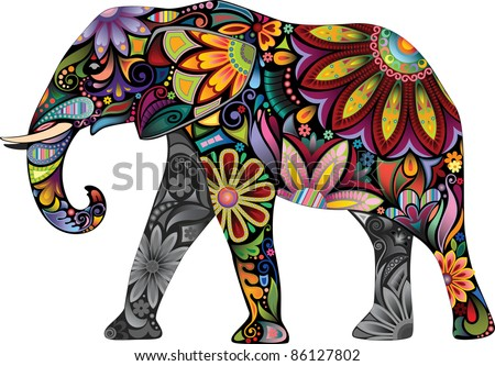 The cheerful elephant. The silhouette of the elephant collected from various elements of a flower ornament.