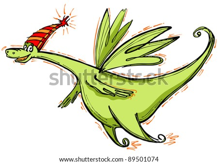 The cheerful smiling dragon, symbol of coming 2012 flies.