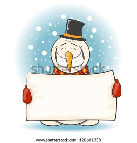 The cheerful snowman. Vector illustration 10 eps - stock vector