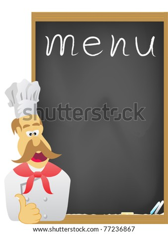 the chef and board for menu - stock vector