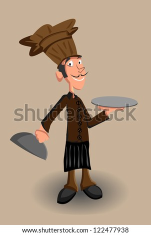 The chef with blank stationery for serving/Chef - stock vector