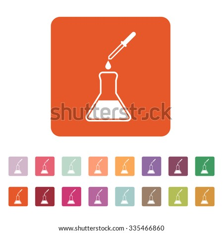 The chemistry icon. Test and analysis, genetics, laboratory, biology symbol. Flat Vector illustration. Button Set - stock vector