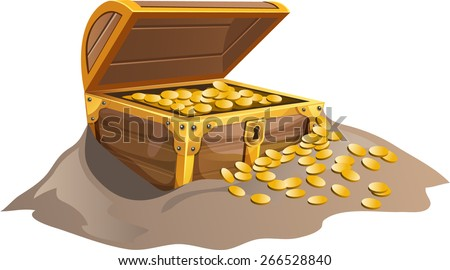 the chest of gold coins - stock vector