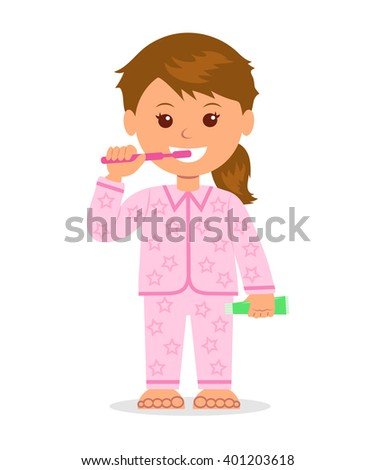 The child in pajamas brushing teeth before bedtime. Oral hygiene. Isolated cartoon character girl with a toothbrush and toothpaste in a hand. Taking care of dental health. - stock vector