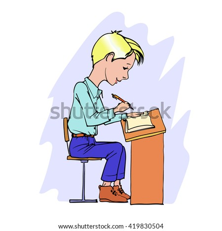 the child learns, icon, little boy sitting at a desk, daily routine, writes in a notebook, isolated vector - stock vector