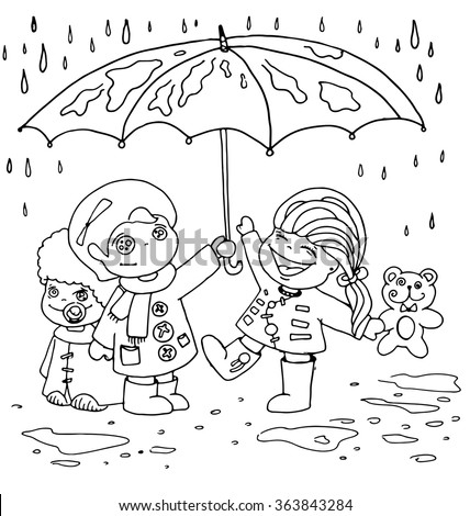the children hid under an umbrella from the rain outline cartoon hand drawn isolated on the white background