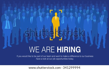 The choice of the best suited employee. Yellow human sign as a symbol of chosen one by the recruiter. HR job seeking concepts. - stock vector