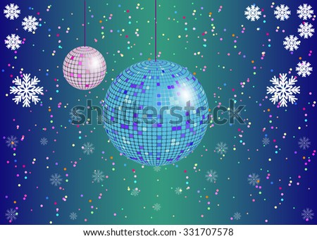 the Christmas background with disco balls and snowflakes