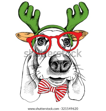 The christmas poster dog Basset Hound portrait in the mask Santa's antler reindeer and glasses. Vector illustration. - stock vector