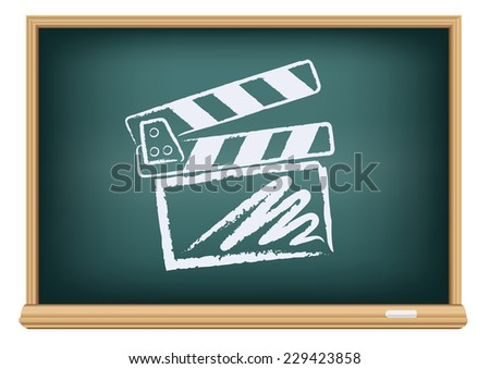 The cinema clapperboard drawn on the blackboard on the white background - stock vector