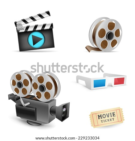 The cinema set collection on the white background - stock vector