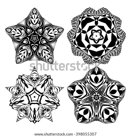 The circular pattern - vector design elements. Vector graphic elements for design. Geometric fashion pattern. Vector star, snowflake, round pattern. Mandala. A set of four elements