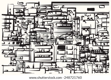 The city. Densely built houses in the city. Architectural Chaos. Conceptual drawing. - stock vector