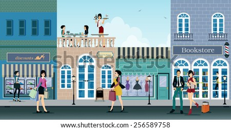 The city is a shopping center where people choose to shop. - stock vector