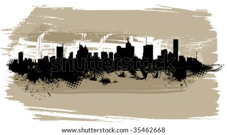 the city silhouette - stock vector