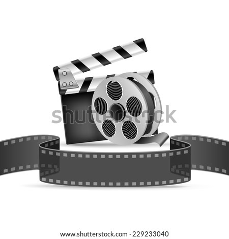 The clapperboard, film tape and reel on the white background  - stock vector
