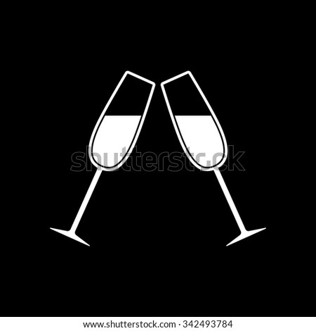The clink glasses icon. Wineglass and goblet, celebration symbol. Flat Vector illustration - stock vector