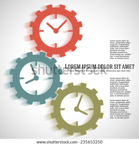 The clock idea poster or modern magazine cover. Unusual clock face (dial) gears. Icons isolated on white background. Clock Logo. Vector Illustration EPS 10, Graphic Design  - stock vector