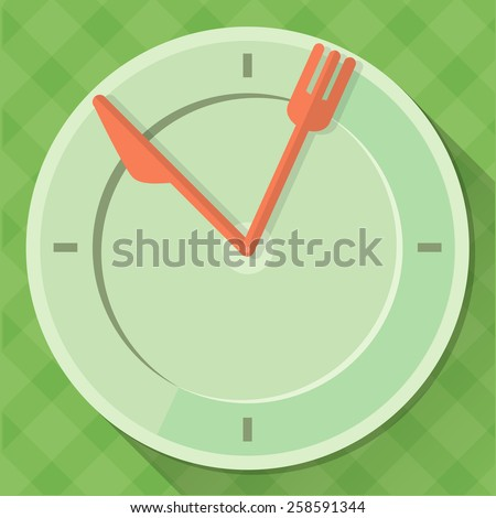 The clock in the form of plates with arrows in the form of a knife and fork on a green tablecloth. Fully editable vector illustration. Flat style. - stock vector