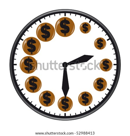 The clock with dollar sign instead numbers - stock vector